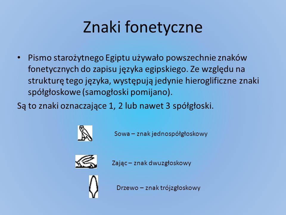 Znaki fonetyczne Pismo starożytnego Egiptu używało powszechnie znaków fonetycznych do zapisu języka egipskiego. Ze względu na strukturę tego języka, w