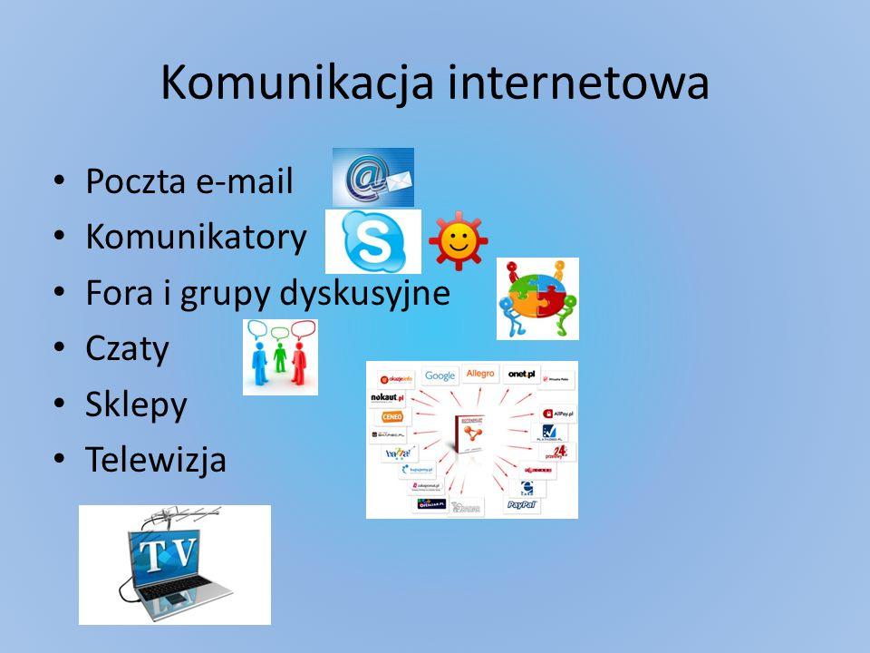 Komunikacja internetowa Poczta e-mail Komunikatory Fora i grupy dyskusyjne Czaty Sklepy Telewizja