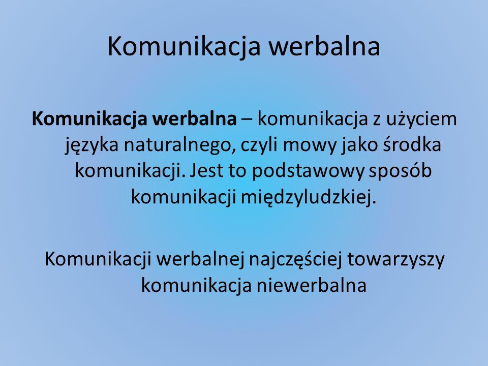 Komunikacja werbalna Komunikacja werbalna – komunikacja z użyciem języka naturalnego, czyli mowy jako środka komunikacji. Jest to podstawowy sposób ko