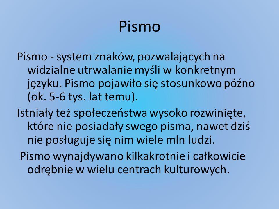 Pismo Pismo - system znaków, pozwalających na widzialne utrwalanie myśli w konkretnym języku. Pismo pojawiło się stosunkowo późno (ok. 5-6 tys. lat te