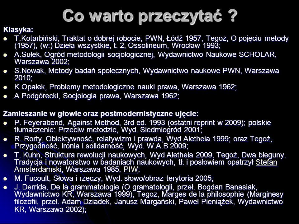 Co warto przeczytać ? Klasyka: T.Kotarbiński, Traktat o dobrej robocie, PWN, Łódź 1957, Tegoż, O pojęciu metody (1957), (w:) Dzieła wszystkie, t. 2, O