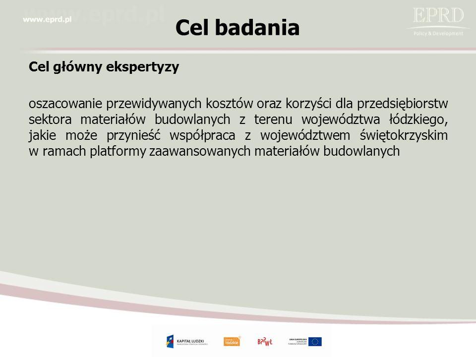 Cel badania Cel główny ekspertyzy oszacowanie przewidywanych kosztów oraz korzyści dla przedsiębiorstw sektora materiałów budowlanych z terenu województwa łódzkiego, jakie może przynieść współpraca z województwem świętokrzyskim w ramach platformy zaawansowanych materiałów budowlanych