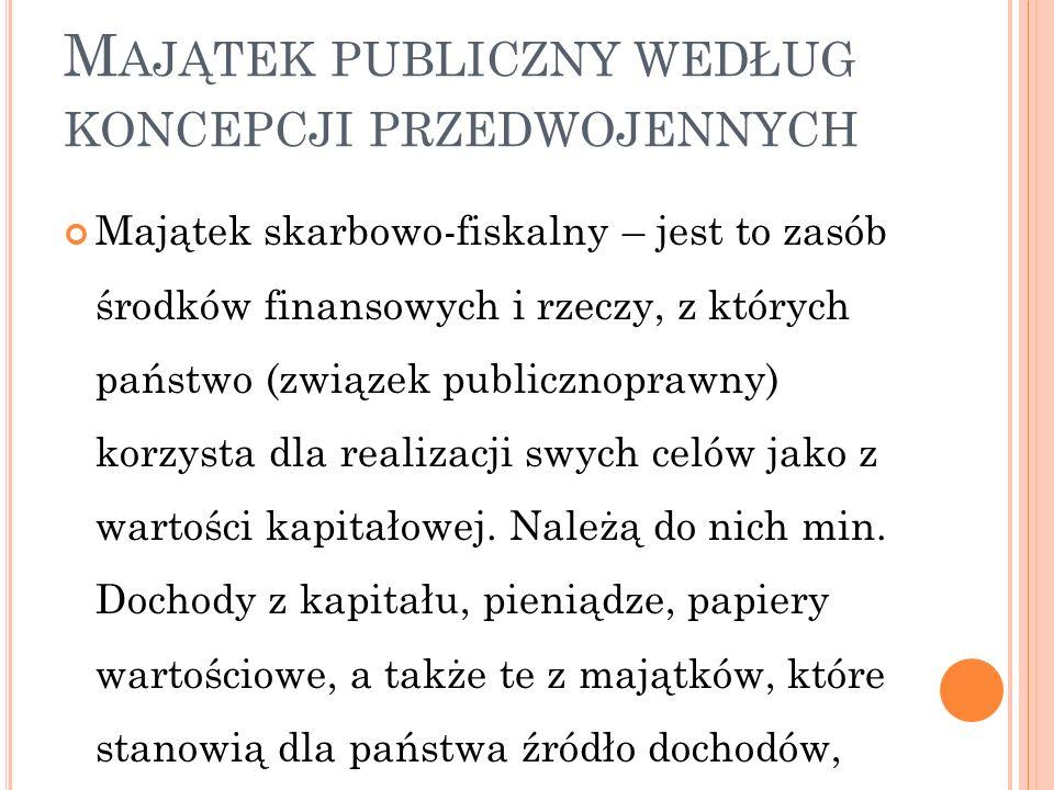 M AJĄTEK PUBLICZNY WEDŁUG KONCEPCJI PRZEDWOJENNYCH Majątek skarbowo-fiskalny – jest to zasób środków finansowych i rzeczy, z których państwo (związek publicznoprawny) korzysta dla realizacji swych celów jako z wartości kapitałowej.