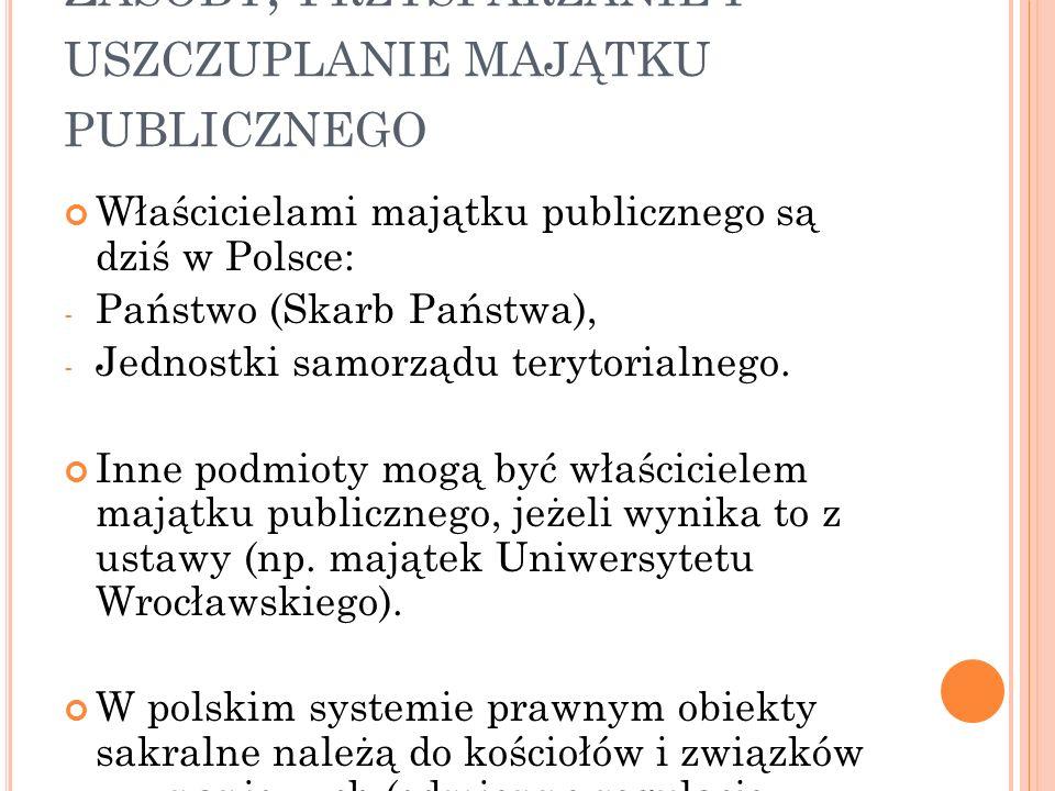 Z ASOBY, PRZYSPARZANIE I USZCZUPLANIE MAJĄTKU PUBLICZNEGO Właścicielami majątku publicznego są dziś w Polsce: - Państwo (Skarb Państwa), - Jednostki samorządu terytorialnego.