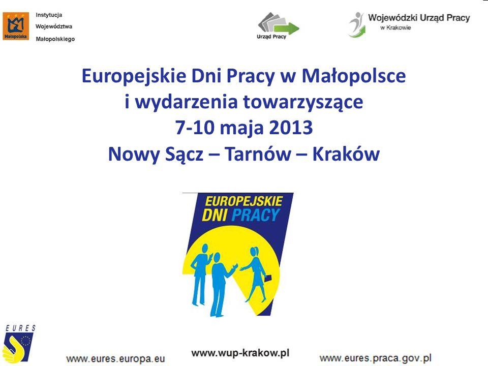 Europejskie Dni Pracy w Małopolsce i wydarzenia towarzyszące 7-10 maja 2013 Nowy Sącz – Tarnów – Kraków