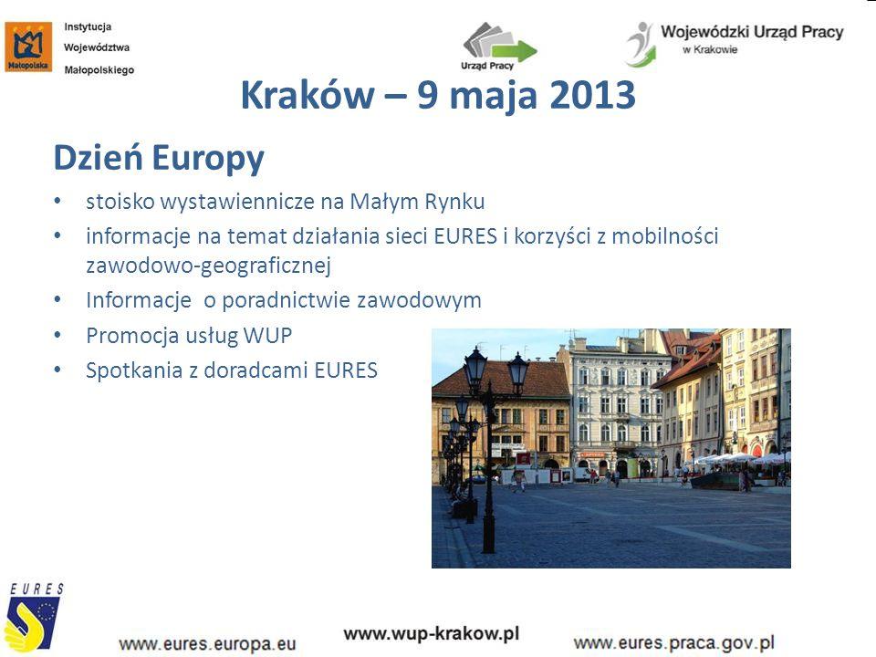 Kraków – 9 maja 2013 Dzień Europy stoisko wystawiennicze na Małym Rynku informacje na temat działania sieci EURES i korzyści z mobilności zawodowo-geograficznej Informacje o poradnictwie zawodowym Promocja usług WUP Spotkania z doradcami EURES