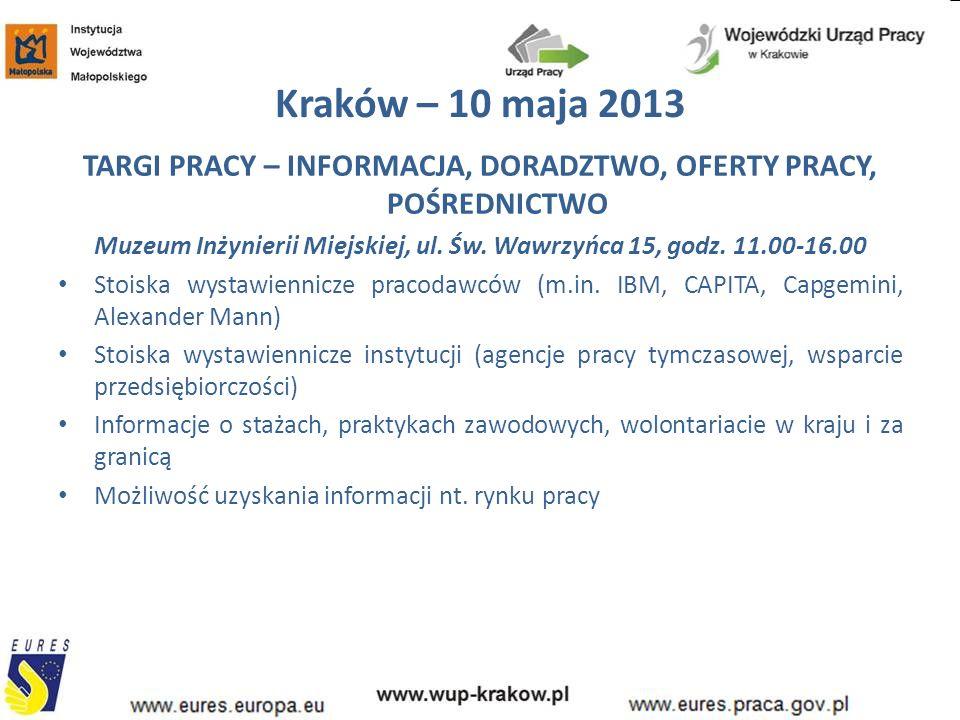 Kraków – 10 maja 2013 TARGI PRACY – INFORMACJA, DORADZTWO, OFERTY PRACY, POŚREDNICTWO Muzeum Inżynierii Miejskiej, ul. Św. Wawrzyńca 15, godz. 11.00-1