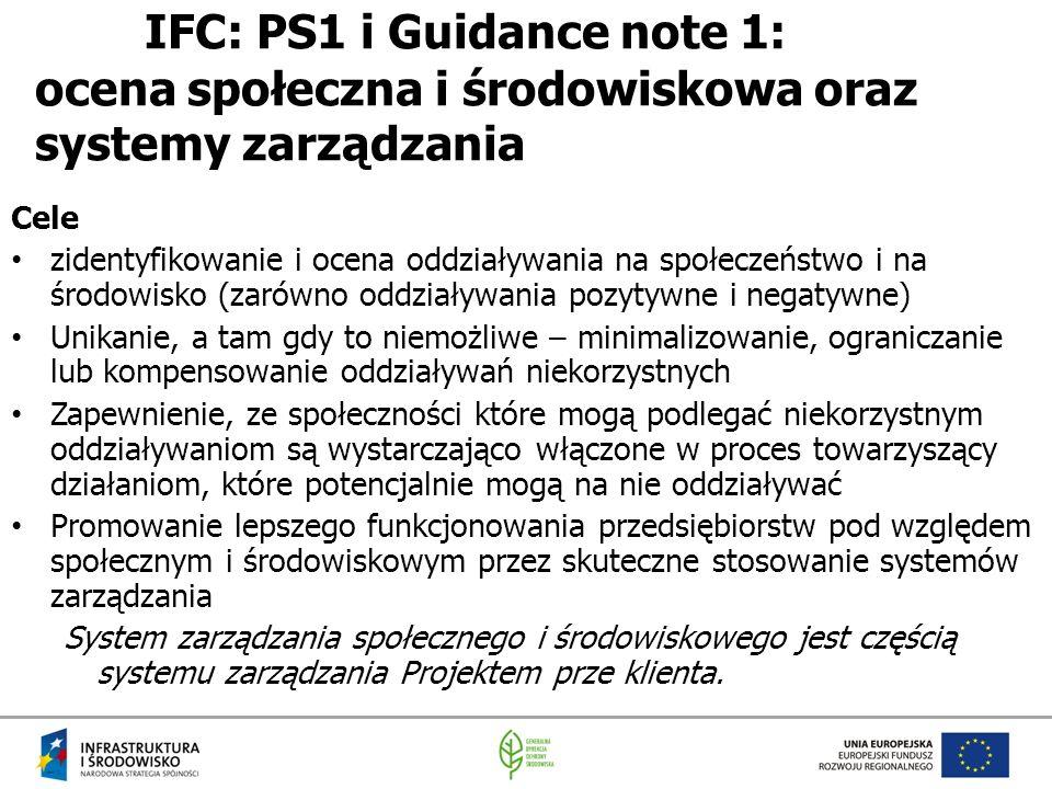 IFC: PS1 i Guidance note 1: ocena społeczna i środowiskowa oraz systemy zarządzania Cele zidentyfikowanie i ocena oddziaływania na społeczeństwo i na środowisko (zarówno oddziaływania pozytywne i negatywne) Unikanie, a tam gdy to niemożliwe – minimalizowanie, ograniczanie lub kompensowanie oddziaływań niekorzystnych Zapewnienie, ze społeczności które mogą podlegać niekorzystnym oddziaływaniom są wystarczająco włączone w proces towarzyszący działaniom, które potencjalnie mogą na nie oddziaływać Promowanie lepszego funkcjonowania przedsiębiorstw pod względem społecznym i środowiskowym przez skuteczne stosowanie systemów zarządzania System zarządzania społecznego i środowiskowego jest częścią systemu zarządzania Projektem prze klienta.