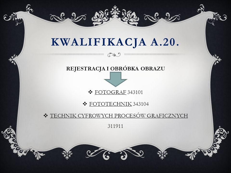 KWALIFIKACJA A.20. REJESTRACJA I OBRÓBKA OBRAZU  FOTOGRAF 343101  FOTOTECHNIK 343104  TECHNIK CYFROWYCH PROCESÓW GRAFICZNYCH 311911