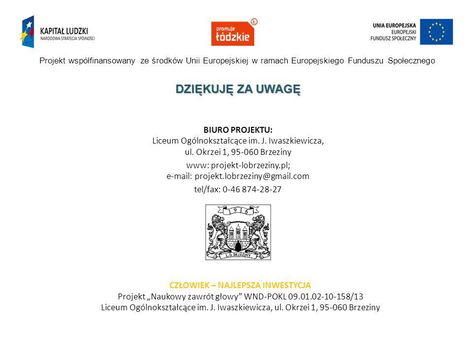 Projekt współfinansowany ze środków Unii Europejskiej w ramach Europejskiego Funduszu Społecznego DZIĘKUJĘ ZA UWAGĘ BIURO PROJEKTU: Liceum Ogólnokszta