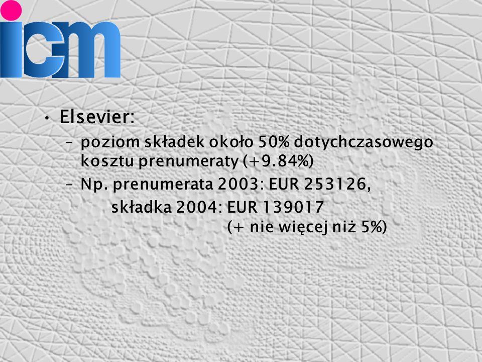 Elsevier: –poziom składek około 50% dotychczasowego kosztu prenumeraty (+9.84%) –Np.