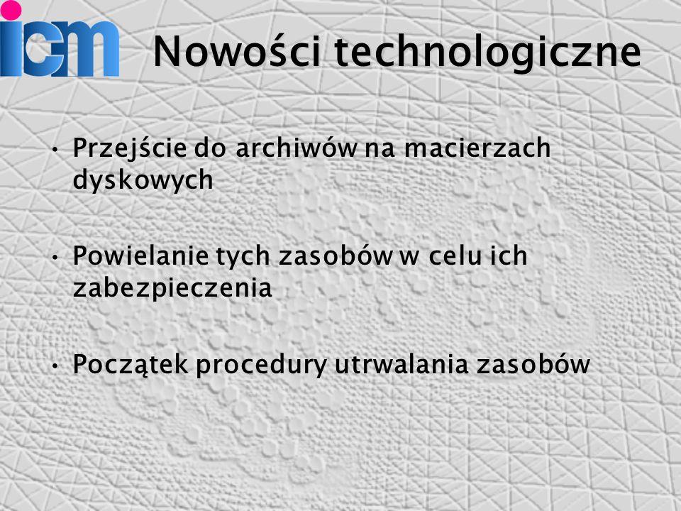 Nowości technologiczne Przejście do archiwów na macierzach dyskowych Powielanie tych zasobów w celu ich zabezpieczenia Początek procedury utrwalania zasobów