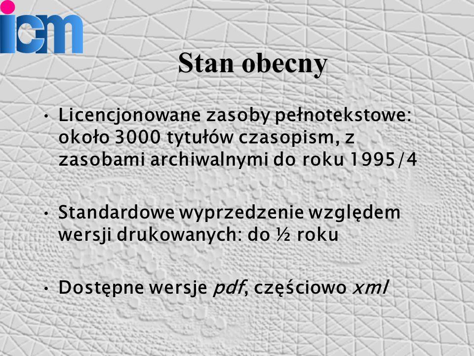 Stan obecny Licencjonowane zasoby pełnotekstowe: około 3000 tytułów czasopism, z zasobami archiwalnymi do roku 1995/4 Standardowe wyprzedzenie względem wersji drukowanych: do ½ roku Dostępne wersje pdf, częściowo xml