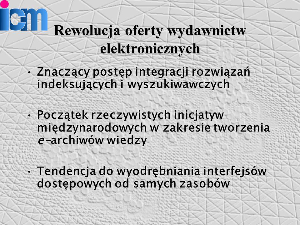 Rewolucja oferty wydawnictw elektronicznych Znaczący postęp integracji rozwiązań indeksujących i wyszukiwawczych Początek rzeczywistych inicjatyw międzynarodowych w zakresie tworzenia e-archiwów wiedzy Tendencja do wyodrębniania interfejsów dostępowych od samych zasobów
