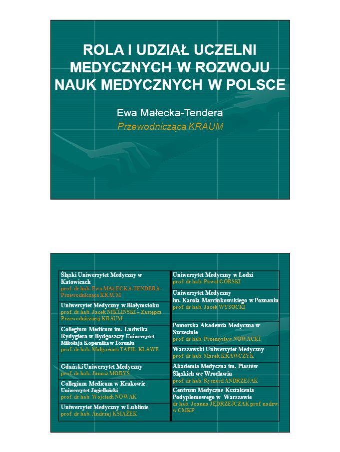 ROLA I UDZIAŁ UCZELNI MEDYCZNYCH W ROZWOJU NAUK MEDYCZNYCH W POLSCE Ewa Małecka-Tendera Przewodnicząca KRAUM Śląski Uniwersytet Medyczny w Katowicach