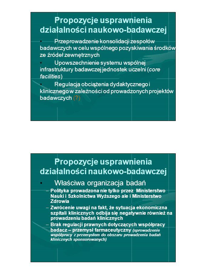 Propozycje usprawnienia działalności naukowo-badawczej Przeprowadzenie konsolidacji zespołów badawczych w celu wspólnego pozyskiwania środków ze źródeł zewnętrznych Upowszechnienie systemu wspólnej infrastruktury badawczej jednostek uczelni (core facilities) Regulacja obciążenia dydaktycznego i klinicznego w zależności od prowadzonych projektów badawczych ( ) Propozycje usprawnienia działalności naukowo-badawczej Właściwa organizacja badań –Polityka prowadzona nie tylko przez Ministerstwo Nauki i Szkolnictwa Wyższego ale i Ministerstwo Zdrowia –Zwrócenie uwagi na fakt, że sytuacja ekonomiczna szpitali klinicznych odbija się negatywnie również na prowadzeniu badań klinicznych –Brak regulacji prawnych dotyczących współpracy badacz – przemysł farmaceutyczny (sprowadzenie współpracy z przemysłem do obszaru prowadzenia badań klinicznych sponsorowanych)
