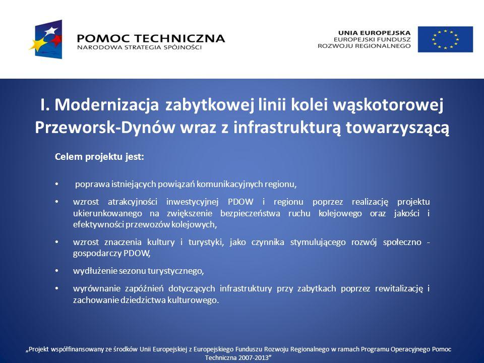 I. Modernizacja zabytkowej linii kolei wąskotorowej Przeworsk-Dynów wraz z infrastrukturą towarzyszącą Celem projektu jest: poprawa istniejących powią