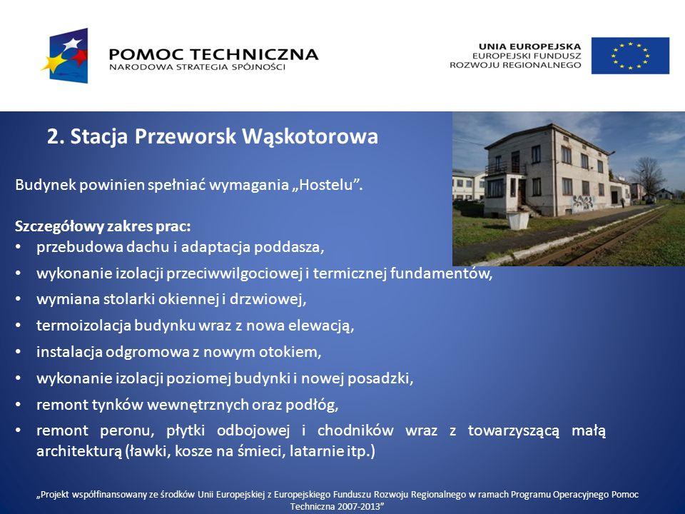 """2.Stacja Przeworsk Wąskotorowa Budynek powinien spełniać wymagania """"Hostelu ."""
