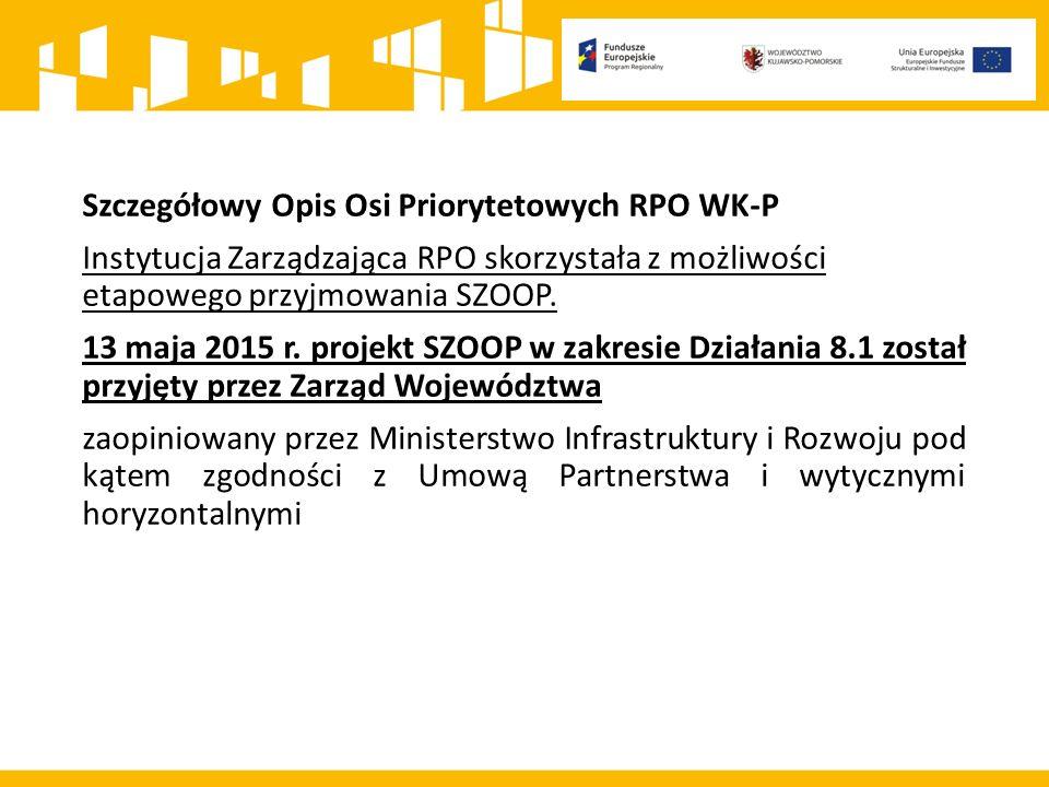 Szczegółowy Opis Osi Priorytetowych RPO WK-P Instytucja Zarządzająca RPO skorzystała z możliwości etapowego przyjmowania SZOOP.