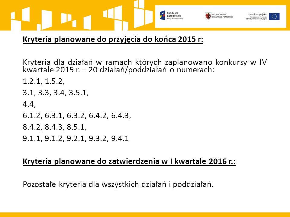 Kryteria planowane do przyjęcia do końca 2015 r: Kryteria dla działań w ramach których zaplanowano konkursy w IV kwartale 2015 r.