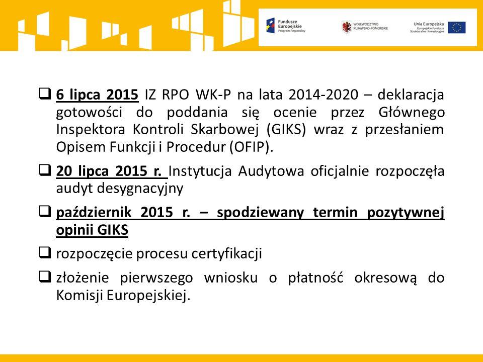  6 lipca 2015 IZ RPO WK-P na lata 2014-2020 – deklaracja gotowości do poddania się ocenie przez Głównego Inspektora Kontroli Skarbowej (GIKS) wraz z przesłaniem Opisem Funkcji i Procedur (OFIP).