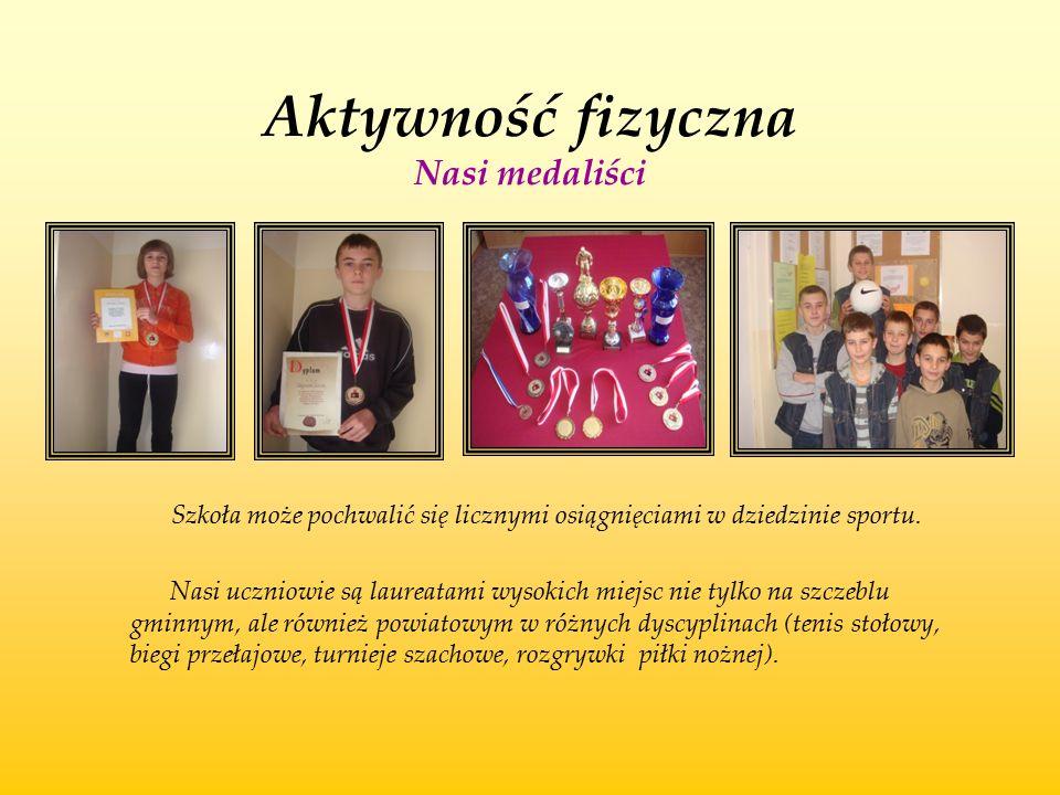 Aktywność fizyczna Nasi medaliści Szkoła może pochwalić się licznymi osiągnięciami w dziedzinie sportu. Nasi uczniowie są laureatami wysokich miejsc n