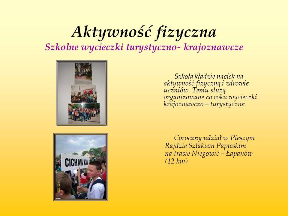 Aktywność fizyczna Szkolne wycieczki turystyczno- krajoznawcze Szkoła kładzie nacisk na aktywność fizyczną i zdrowie uczniów. Temu służą organizowane