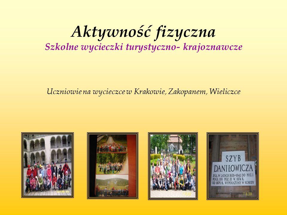 Aktywność fizyczna Szkolne wycieczki turystyczno- krajoznawcze Uczniowie na wycieczce w Krakowie, Zakopanem, Wieliczce