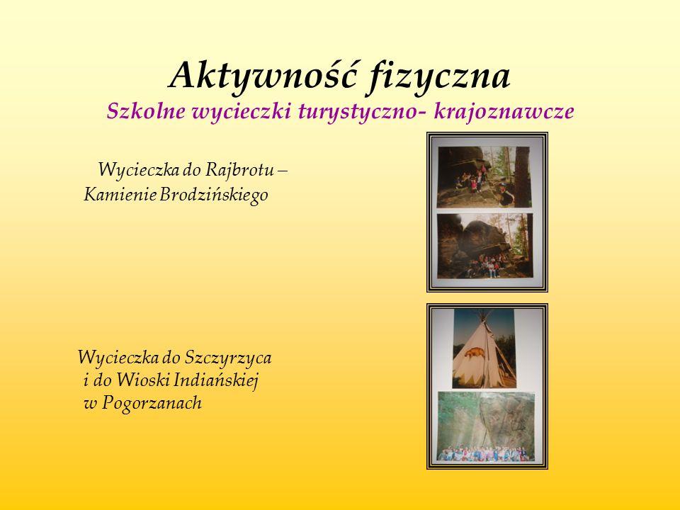 Aktywność fizyczna Szkolne wycieczki turystyczno- krajoznawcze Wycieczka do Rajbrotu – Kamienie Brodzińskiego Wycieczka do Szczyrzyca i do Wioski Indi