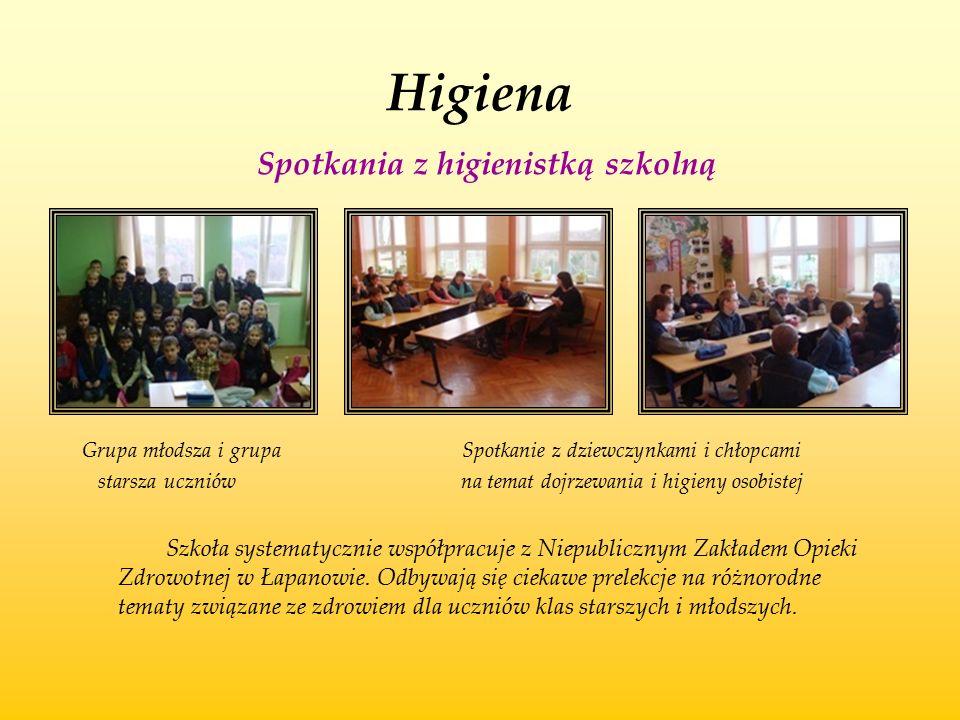 Higiena Spotkania z higienistką szkolną Grupa młodsza i grupa Spotkanie z dziewczynkami i chłopcami starsza uczniów na temat dojrzewania i higieny oso