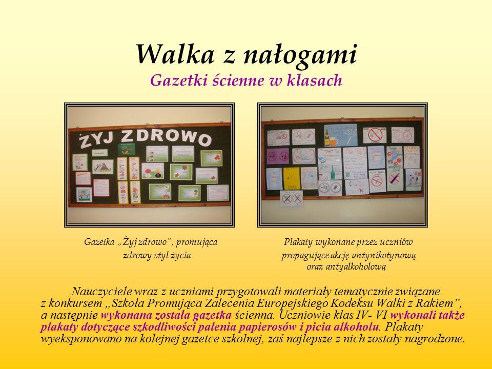 """Walka z nałogami Gazetki ścienne w klasach Gazetka """"Żyj zdrowo"""", promująca Plakaty wykonane przez uczniów zdrowy styl życia propagujące akcję antyniko"""