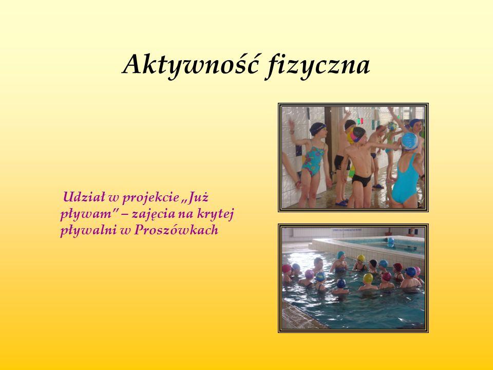 """Aktywność fizyczna Udział w projekcie """"Już pływam"""" – zajęcia na krytej pływalni w Proszówkach"""