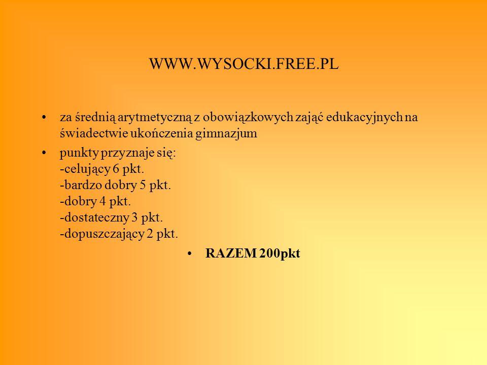 WWW.WYSOCKI.FREE.PL za średnią arytmetyczną z obowiązkowych zająć edukacyjnych na świadectwie ukończenia gimnazjum punkty przyznaje się: -celujący 6 pkt.
