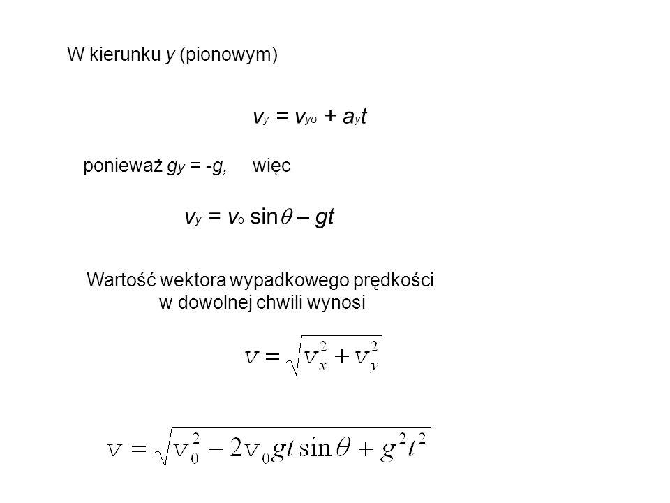 W kierunku y (pionowym) ponieważ g y = -g, więc v y = v o sin  – gt Wartość wektora wypadkowego prędkości w dowolnej chwili wynosi v y = v yo + a y t
