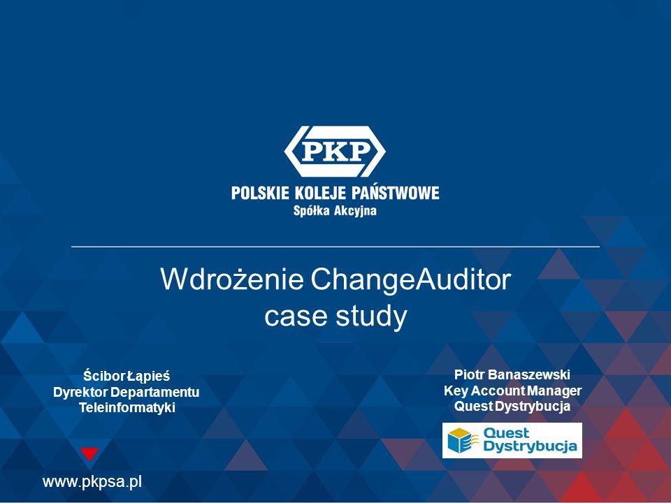 Wdrożenie ChangeAuditor case study Ścibor Łąpieś Dyrektor Departamentu Teleinformatyki Piotr Banaszewski Key Account Manager Quest Dystrybucja
