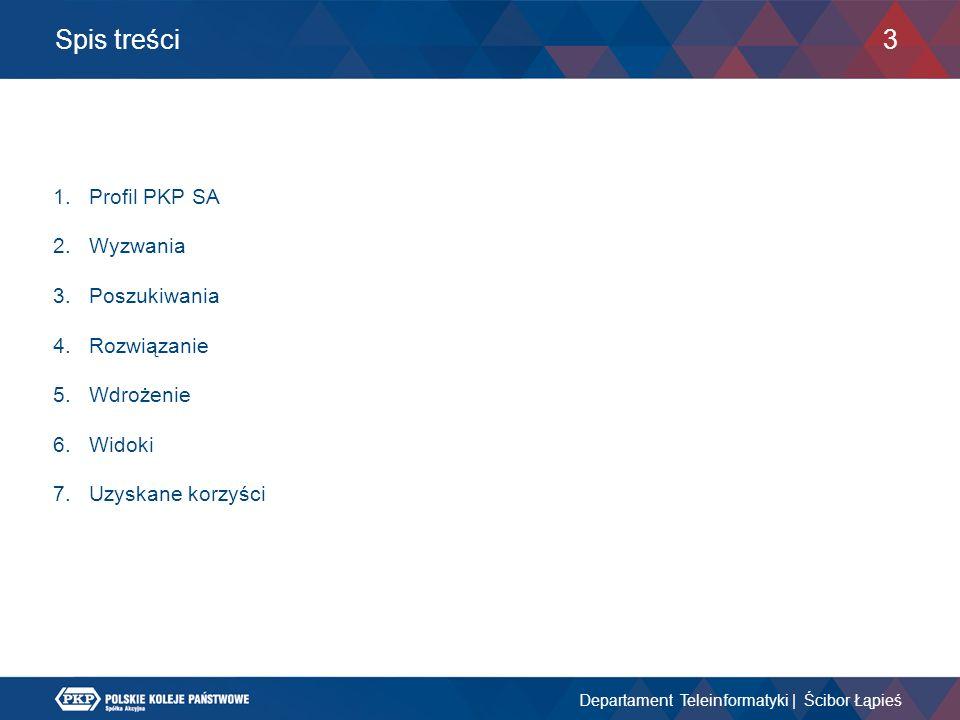 Spis treści Departament Teleinformatyki | Ścibor Łąpieś 3 1.Profil PKP SA 2.Wyzwania 3.Poszukiwania 4.Rozwiązanie 5.Wdrożenie 6.Widoki 7.Uzyskane korz