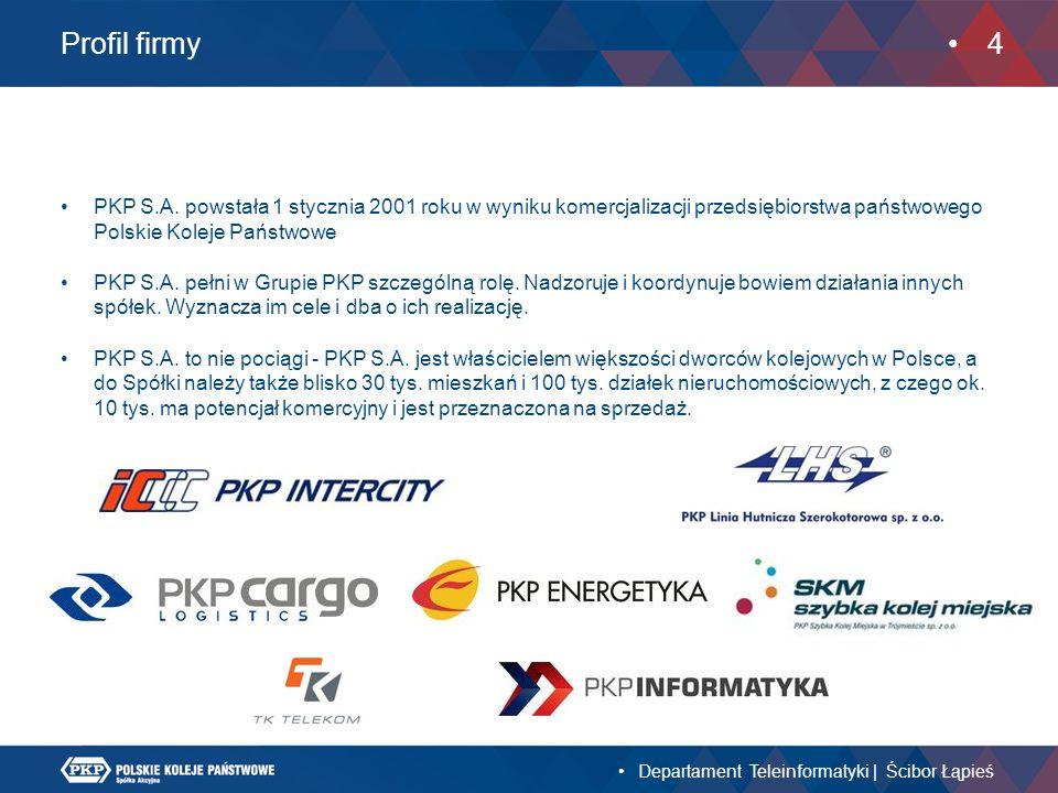 Profil firmy PKP S.A. powstała 1 stycznia 2001 roku w wyniku komercjalizacji przedsiębiorstwa państwowego Polskie Koleje Państwowe PKP S.A. pełni w Gr