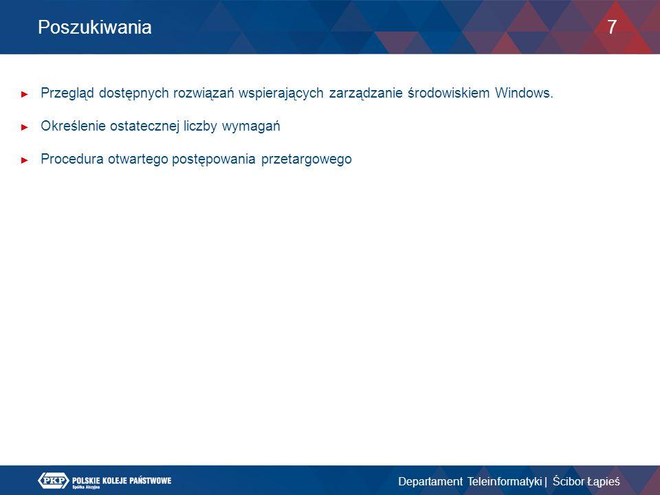 Poszukiwania ► Przegląd dostępnych rozwiązań wspierających zarządzanie środowiskiem Windows. ► Określenie ostatecznej liczby wymagań ► Procedura otwar