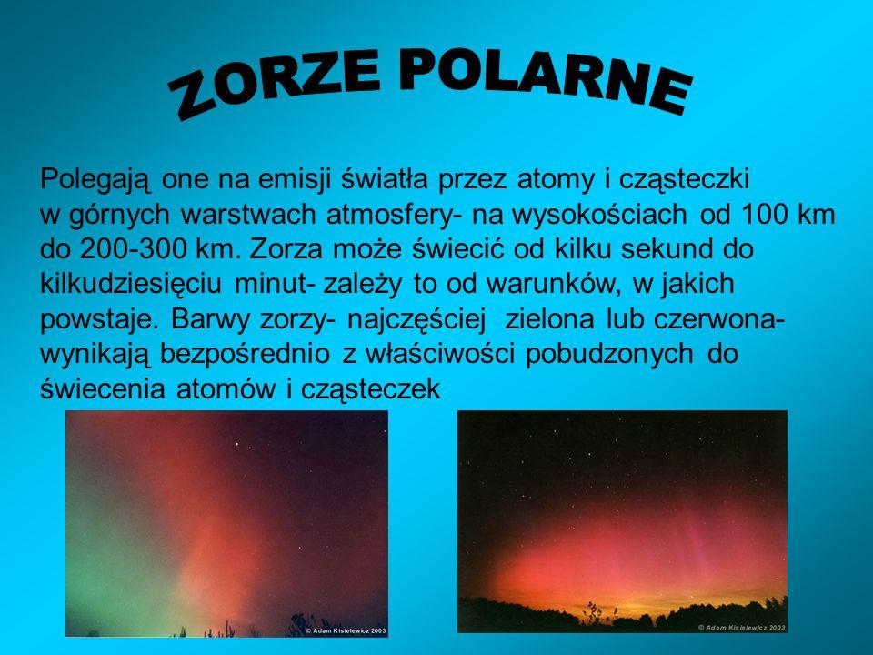 Polegają one na emisji światła przez atomy i cząsteczki w górnych warstwach atmosfery- na wysokościach od 100 km do 200-300 km.