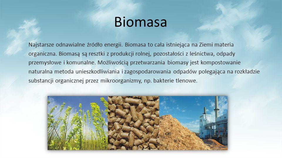 Biomasa Najstarsze odnawialne źródło energii. Biomasa to cała istniejąca na Ziemi materia organiczna. Biomasą są resztki z produkcji rolnej, pozostało