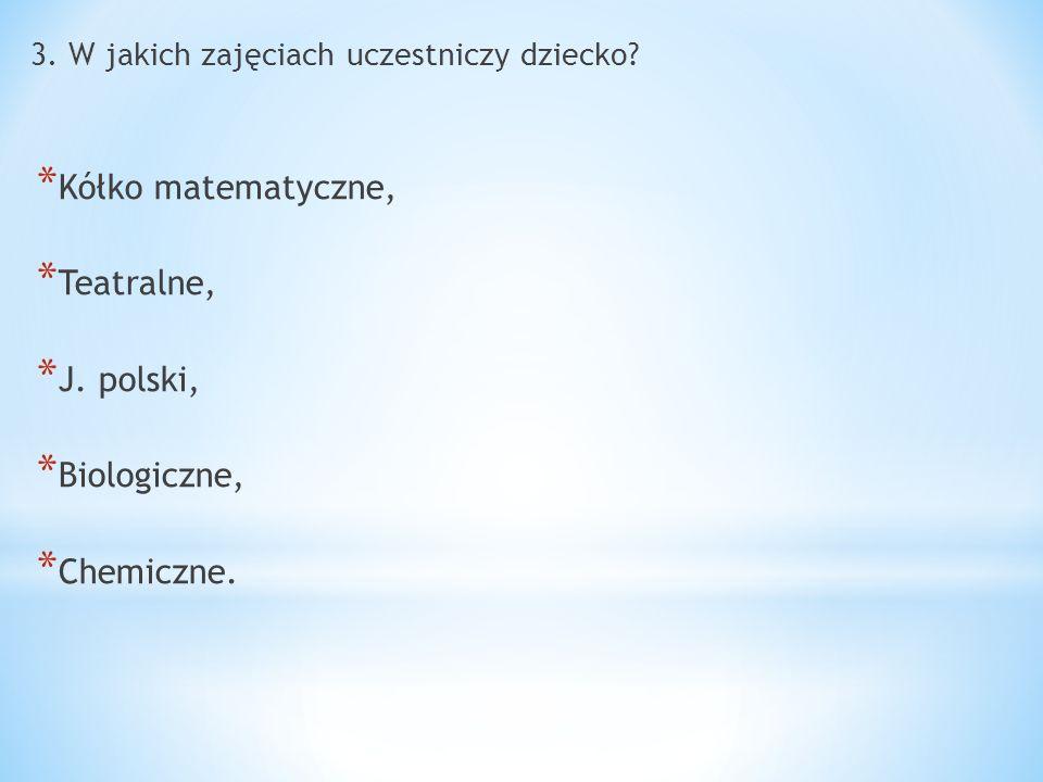 3. W jakich zajęciach uczestniczy dziecko? * Kółko matematyczne, * Teatralne, * J. polski, * Biologiczne, * Chemiczne.