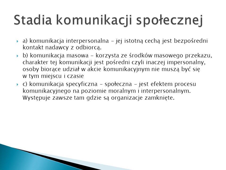  a) komunikacja interpersonalna - jej istotną cechą jest bezpośredni kontakt nadawcy z odbiorcą.  b) komunikacja masowa - korzysta ze środków masowe