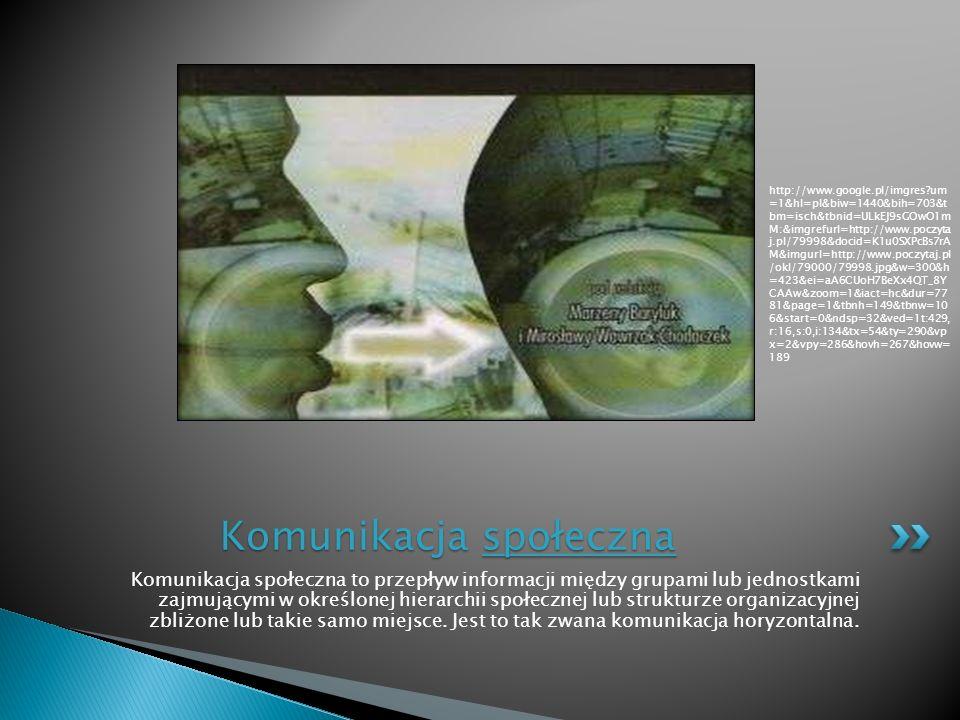 Komunikacja społeczna to przepływ informacji między grupami lub jednostkami zajmującymi w określonej hierarchii społecznej lub strukturze organizacyjn