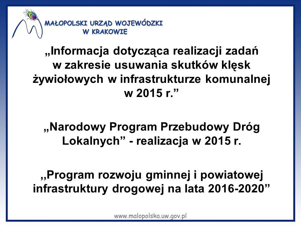 """""""Informacja dotycząca realizacji zadań w zakresie usuwania skutków klęsk żywiołowych w infrastrukturze komunalnej w 2015 r."""" """"Narodowy Program Przebud"""