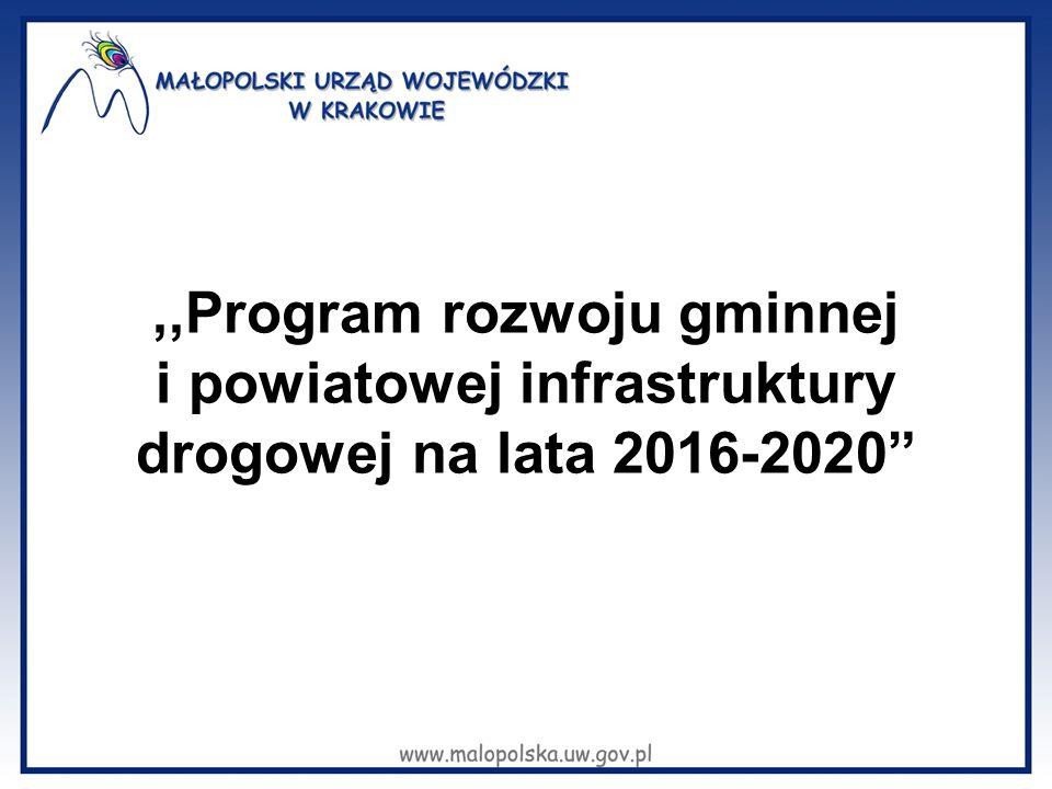 """,,Program rozwoju gminnej i powiatowej infrastruktury drogowej na lata 2016-2020"""""""