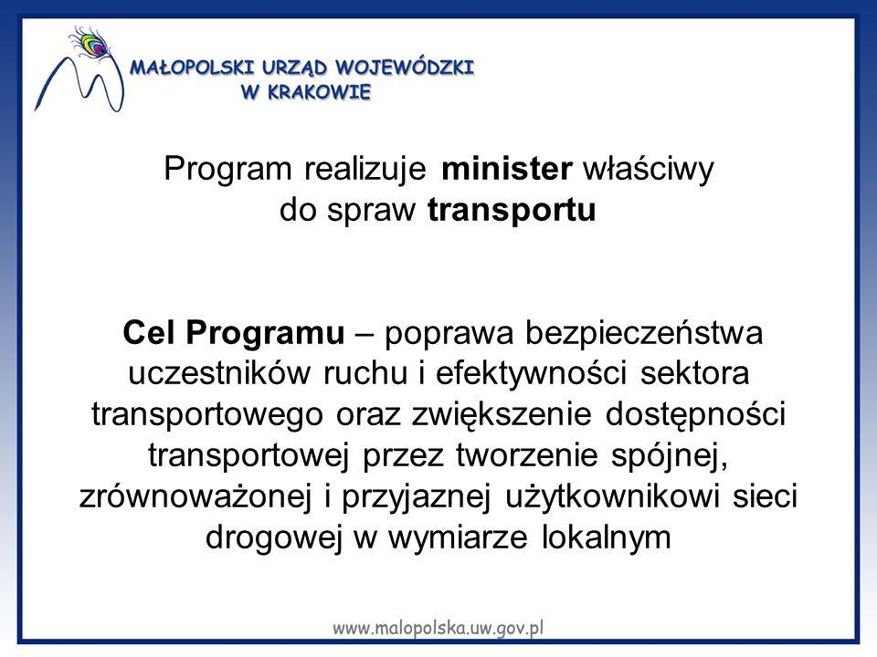 Program realizuje minister właściwy do spraw transportu Cel Programu – poprawa bezpieczeństwa uczestników ruchu i efektywności sektora transportowego oraz zwiększenie dostępności transportowej przez tworzenie spójnej, zrównoważonej i przyjaznej użytkownikowi sieci drogowej w wymiarze lokalnym