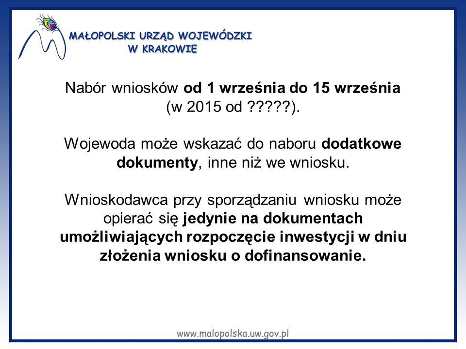 Nabór wniosków od 1 września do 15 września (w 2015 od ?????). Wojewoda może wskazać do naboru dodatkowe dokumenty, inne niż we wniosku. Wnioskodawca