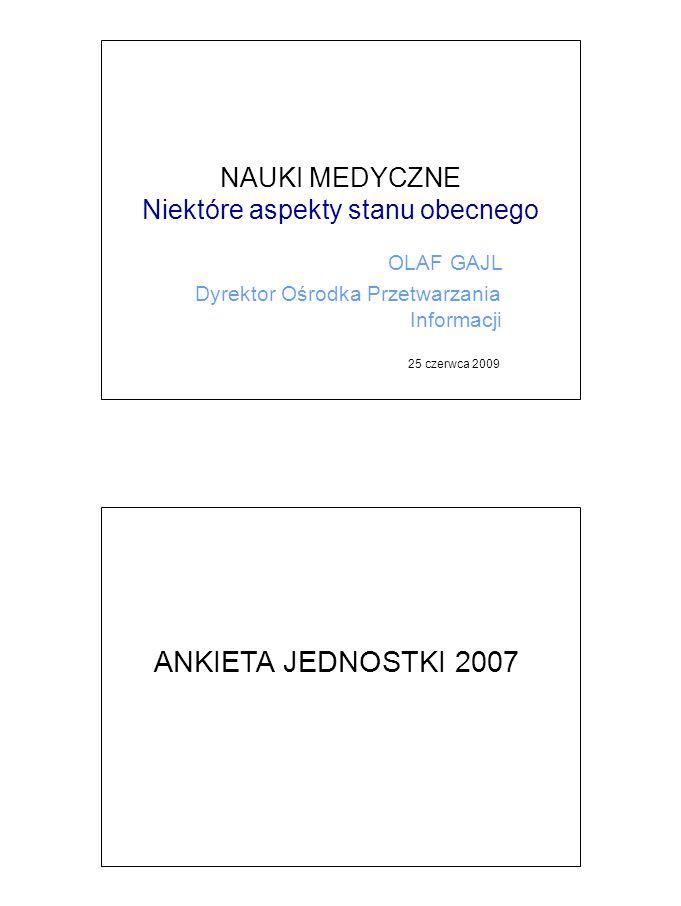 """Dyscyplina """"KBN - nauki medyczne, nauki farmaceutyczne, medycyna, biologia medyczna, pielęgniarstwo, stomatologia - 2007 Struktura zatrudnienia rodzaj jednostki naukowejliczba jednostek podstawowa jednostka organizacyjna szkoły wyższej 59 jednostka badawczo-rozwojowa24 placówka naukowa Polskiej Akademii Nauk8 międzynarodowy instytut naukowy utworzony na podstawie odrębnych przepisów 1 inna jednostka naukowa2 RAZEM94 UczelnieJBR-yPANInne Profesorowie 1 036252893 Doktorzy habilitowani 1 2362161084 Doktorzy 5 8291 14428025 Z wykształceniem wyższym 3 04797927329 Z wykształceniem średnim 215114210 Inne 1 1403332156 RAZEM zatrudnieni w B+R12 5043 03898667 Zatrudnieni poza sferą B+R 16 80417 0461 203113"""