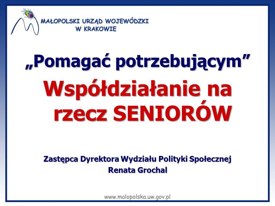 miechowski Kraków Tarnów chrzanowski olkuski proszowicki oświęcimski tatrzański Nowy Sącz gorlicki dąbrowski suski krakowski wadowicki tarnowski brzeski nowotarski bocheński wielicki limanowski myślenicki nowosądecki 17,75% 17,13% 17,01% 15,97% 15,64% 15,57% 15,52% 14,59% 14,35% 14,00% 13,93% 13,90% 13,45% 13,43% 13,34% 13,28% 12,87% 12,82% 12,32% 11,87% 11,83% 11,51% Liczba seniorów w poszczególnych powiatach Małopolski (w %) ŚREDNIA KRAJOWA 14,71% powyżej 12% powyżej 11% 13-14% powyżej 14% powyżej 15% powyżej 17%
