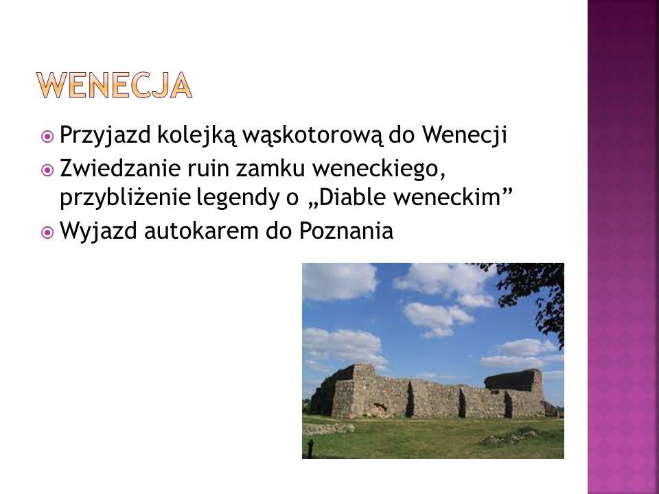 """ Przyjazd kolejką wąskotorową do Wenecji  Zwiedzanie ruin zamku weneckiego, przybliżenie legendy o """"Diable weneckim  Wyjazd autokarem do Poznania"""